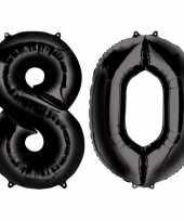 80 jaar zwarte gefeliciteerd ballonnen 88 cm leeftijd cijfer