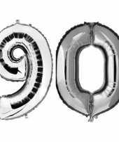 90 jaar zilveren gefeliciteerd ballonnen 88 cm leeftijd cijfer