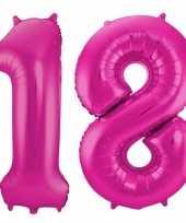 Cijfer 18 ballon roze 86 cm