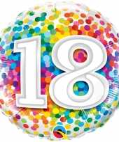 Gefeliciteerd ballon 18 jaar confettiprint 45 cm met helium gevuld