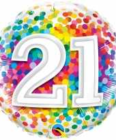 Gefeliciteerd ballon 21 jaar confettiprint 45 cm met helium gevuld