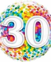 Gefeliciteerd ballon 30 jaar confettiprint 45 cm met helium gevuld