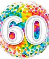 Gefeliciteerd ballon 60 jaar confettiprint 45 cm met helium gevuld