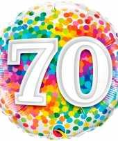 Gefeliciteerd ballon 70 jaar confettiprint 45 cm met helium gevuld