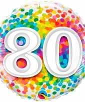 Gefeliciteerd ballon 80 jaar confettiprint 45 cm met helium gevuld