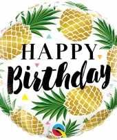 Gefeliciteerd ballon gefeliciteerd happy birthday ananas 45 cm met helium gevuld