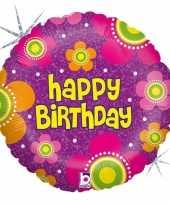 Gefeliciteerd ballon gefeliciteerd happy birthday bloemen 46 cm met helium gevuld