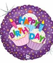 Gefeliciteerd ballon gefeliciteerd happy birthday cup cakes 46 cm met helium gevuld