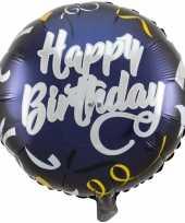 Gefeliciteerd ballon gefeliciteerd happy birthday donkerblauw 45 cm met helium gevuld