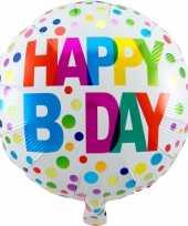 Gefeliciteerd ballon gefeliciteerd happy birthday gekleurde stippen 45 cm met helium gevuld