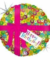 Gefeliciteerd ballon gefeliciteerd happy birthday roze strik 46 cm met helium gevuld