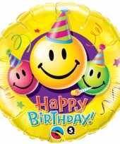 Gefeliciteerd ballon gefeliciteerd happy birthday smiley 45 cm met helium gevuld