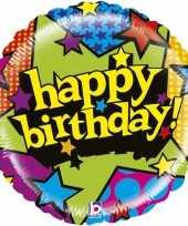 Gefeliciteerd ballon gefeliciteerd happy birthday sterren 53 cm met helium gevuld