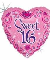 Gefeliciteerd ballon gefeliciteerd happy birthday sweet 16 16e verjaardag 46 cm met helium gevuld