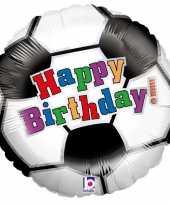 Gefeliciteerd ballon gefeliciteerd happy birthday voetbal 46 cm met helium gevuld