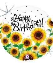 Gefeliciteerd ballon gefeliciteerd happy birthday zonnebloem 46 cm met helium gevuld