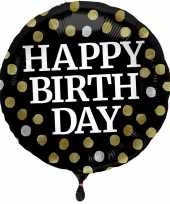 Gefeliciteerd ballon gefeliciteerd happy birthday zwart met stippen 45 cm met helium gevuld