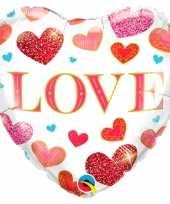 Gefeliciteerd ballon love hart met hartjes 45 cm met helium gevuld