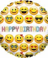 Gefeliciteerd ballon smiley verjaardag 35 cm