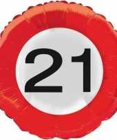 Gefeliciteerd ballonnen 21 jaar verkeersbord