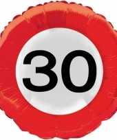 Gefeliciteerd ballonnen 30 jaar verkeersbord