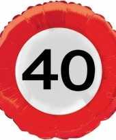 Gefeliciteerd ballonnen 40 jaar verkeersbord