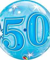 Gefeliciteerd helium ballon 50 jaar blauw 55 cm