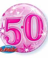 Gefeliciteerd helium ballon 50 jaar roze 55 cm