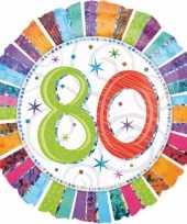 Gekleurde gefeliciteerd ballon 80 jaar