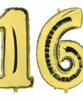Sweet 16 gouden gefeliciteerd ballonnen 88 cm leeftijd cijfer 16 jaar