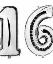 Sweet 16 zilveren gefeliciteerd ballonnen 88 cm leeftijd cijfer 16 jaar