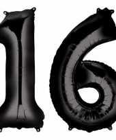 Sweet 16 zwarte gefeliciteerd ballonnen 88 cm leeftijd cijfer 16 jaar