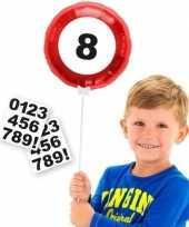 Verkeersbord gefeliciteerdballon met cijfer stickers 23 cm